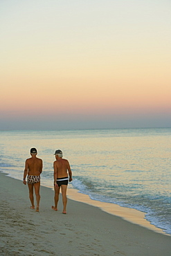 Rear view of two men walking on the beach