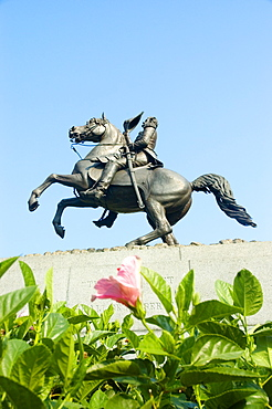 Low angle view of a statue of Andrew Jackson, Jackson Square, New Orleans, Louisiana, USA