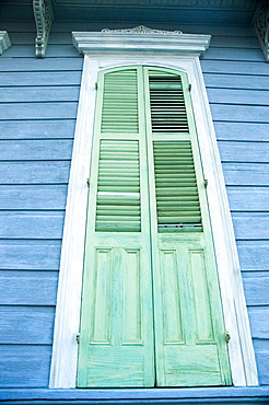 Low angle view of a closed door, New Orleans, Louisiana, USA
