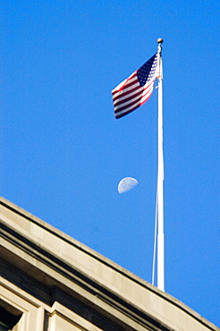 Low angle view of an American flag on a building, Boston, Massachusetts, USA