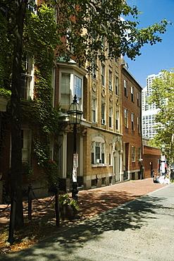 Buildings along a walkway, Boston, Massachusetts, USA