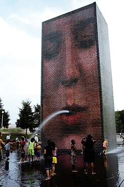 High angle view of a group of people in water, Crown Fountain, Millennium Park, Chicago, Illinois, USA