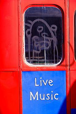 Close-up of graffiti on a vehicle window, Miami, Florida, USA