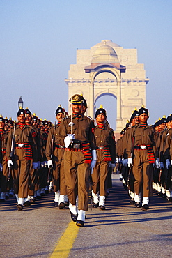 Military marching in front of India Gate, New Delhi, India
