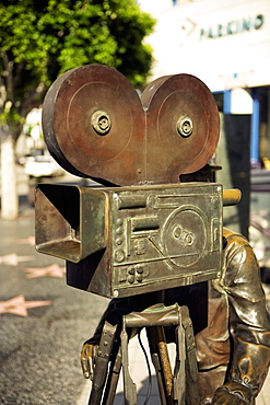 Close-up of the statue of a filmmaker, Los Angeles, California, USA