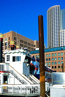 Boat in front of skyscrapers, Boston, Massachusetts, USA