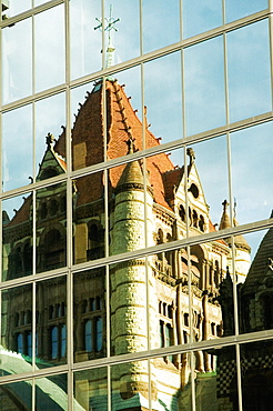 Reflection of a church on a building, Trinity Church, John Hancock Tower, Boston, Massachusetts, USA