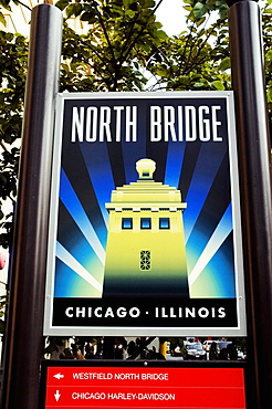 Low angle view of a sign board, North Bridge, Chicago, Illinois, USA
