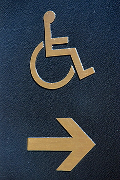 Close-up of disabled sign, Boston, Massachusetts, USA