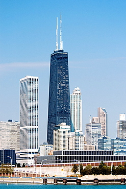 Skyscrapers in a city by the lake, Chicago, Illinois, USA