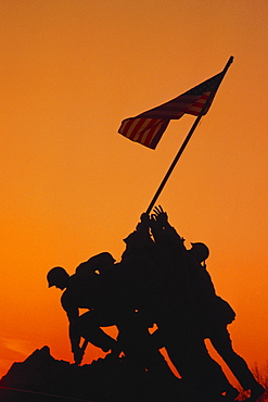 Low angle view of a war memorial, Iwo Jima Memorial, Virginia, USA