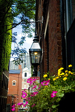 Lamppost on a building, Boston, Massachusetts, USA