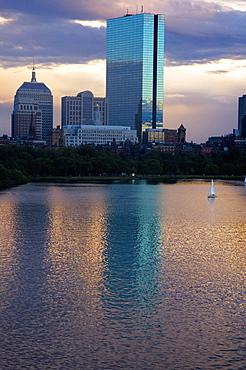Skyscrapers along a river, John Hancock Building, Charles River, Boston, Massachusetts, USA