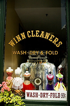 Dresses in a display window, Boston, Massachusetts, USA