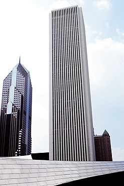 Low angle view of skyscrapers in a city, Aon Center and Two Prudential Plaza, Chicago, Illinois, USA