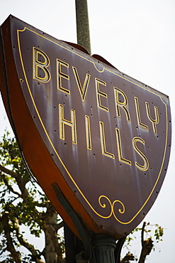Low angle view of a Beverly Hills sign, Los Angeles, California, USA