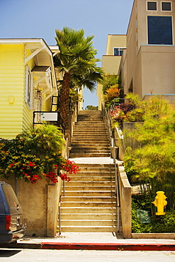 Low angle view of a staircase outside a house