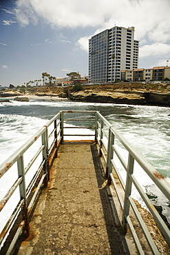 High angle view of a pier, La Jolla Reefs, San Diego, California, USA