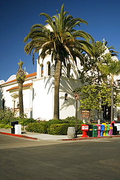 Palm trees on a street corner, Old Town San Diego, San Diego, California, USA