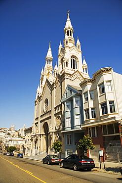 Church on a road, San Francisco, California, USA