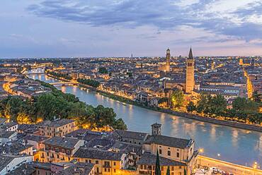 Aerial view of the Verona cityscape at sunset, Italy.