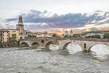 View of the Ponte Pietra over the Adige River in Verona, Italy.