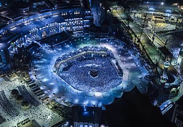 The Hajj annual Islamic pilgrimage to Mecca, Saudi Arabia, Aerial view.