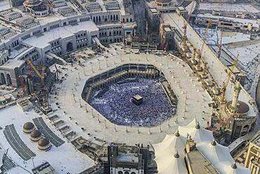 The Hajj annual Islamic pilgrimage to Mecca, Saudi Arabia, the holy city. Aerial view.