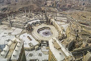 The Hajj annual Islamic pilgrimage to Mecca, Saudi Arabia, the holy place, Aerial view.