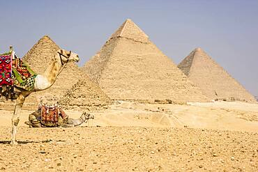 Three pyramids, monuments and burial tombs of the pharaohs Khufu, Khafre, and Menkaure.