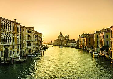 Sunset view along the Grand Canal in Venice.