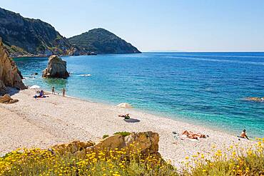 Acquaviva beach and coastline near Portoferraio on the Isle of Elba, Italy