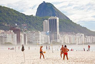 Ball game on Copacabana Beach, Copacabana, Rio de Janeiro, Brazil