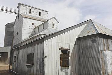 Grain silos, buildings in rural Washington