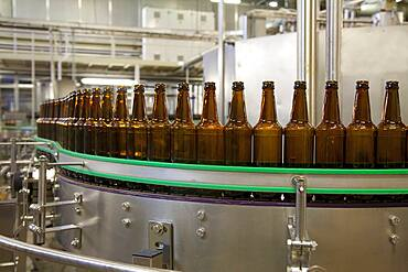 Beer bottling plant, rows of bottles, automated process