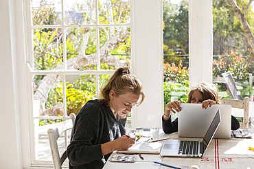Teenage girl painting with watercolours at a table, and a boy on a laptop