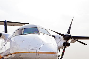 Nose cone and front view of a propeller aircraft