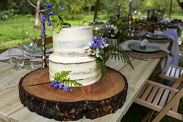Cake with flower decorations for an outdoor ceremony