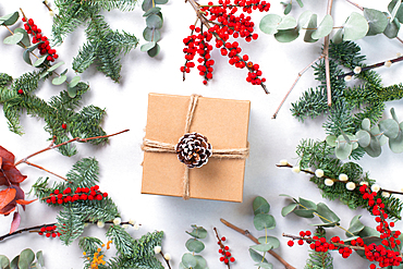 Christmas decorations on a white background, and a gift wrapped present
