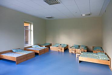 Modern day care nursery or pre-school kindergarten school, bedrooms for nap time