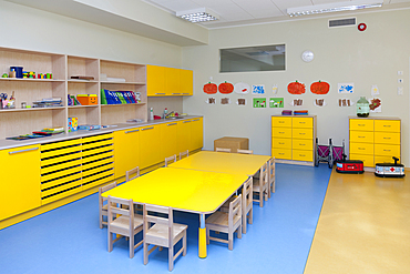 Modern day care nursery or pre-school kindergarten school, spacious interiors, classroom