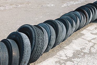 Row of discarded tires, Utah, USA