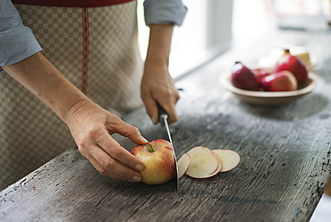 A person cutting up an organic apple, Woodstock, New York, USA