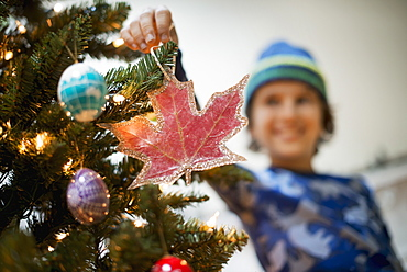 A young boy holding Christmas ornaments and placing them on the Christmas tree, Woodstock, New York, USA