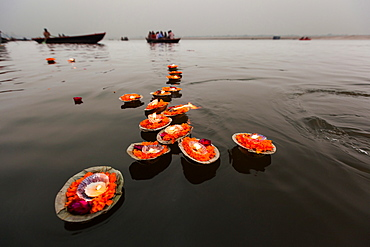 Candles floating in the Ganges River, Varanasi, India, Ganges River, Varanasi, India