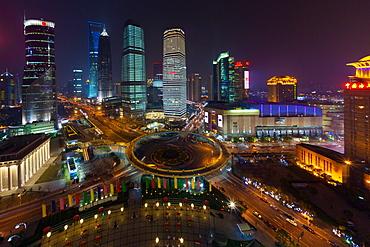 The Lujiazui Traffic Circle, with an elevated pedestrian promenade, at night, Shanghai, China, Shanghai, China