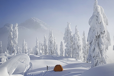 A bright orange tent sits on a snowy ridge overlooking a mountain in the distance, Cascade Mountains, Washington, USA