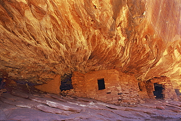 The House On fire ruins at Cedar Mesa, is a natural landmark, a cliff mesa rock formation with a spectacular natural pattern on the rock, House on Fire Ruins, Cedar Mesa, Utah, USA