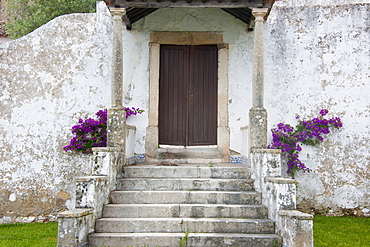 Steps up to a house door with flowering purple bougainvillea, Sonega, Portugal