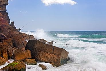 Waves breaking on the shores of the Atlantic coastline of Portugal, Azenhas do Mar, Atlantic Coast, Portugal